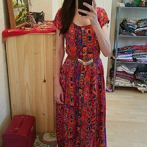 Funky Vintage Tribal Print 80s Dress Size M